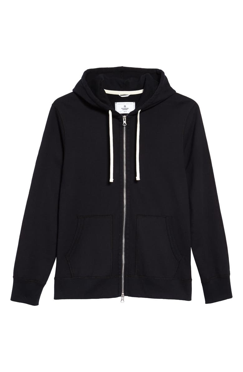 REIGNING CHAMP Core Zip Front Hoodie, Main, color, 001