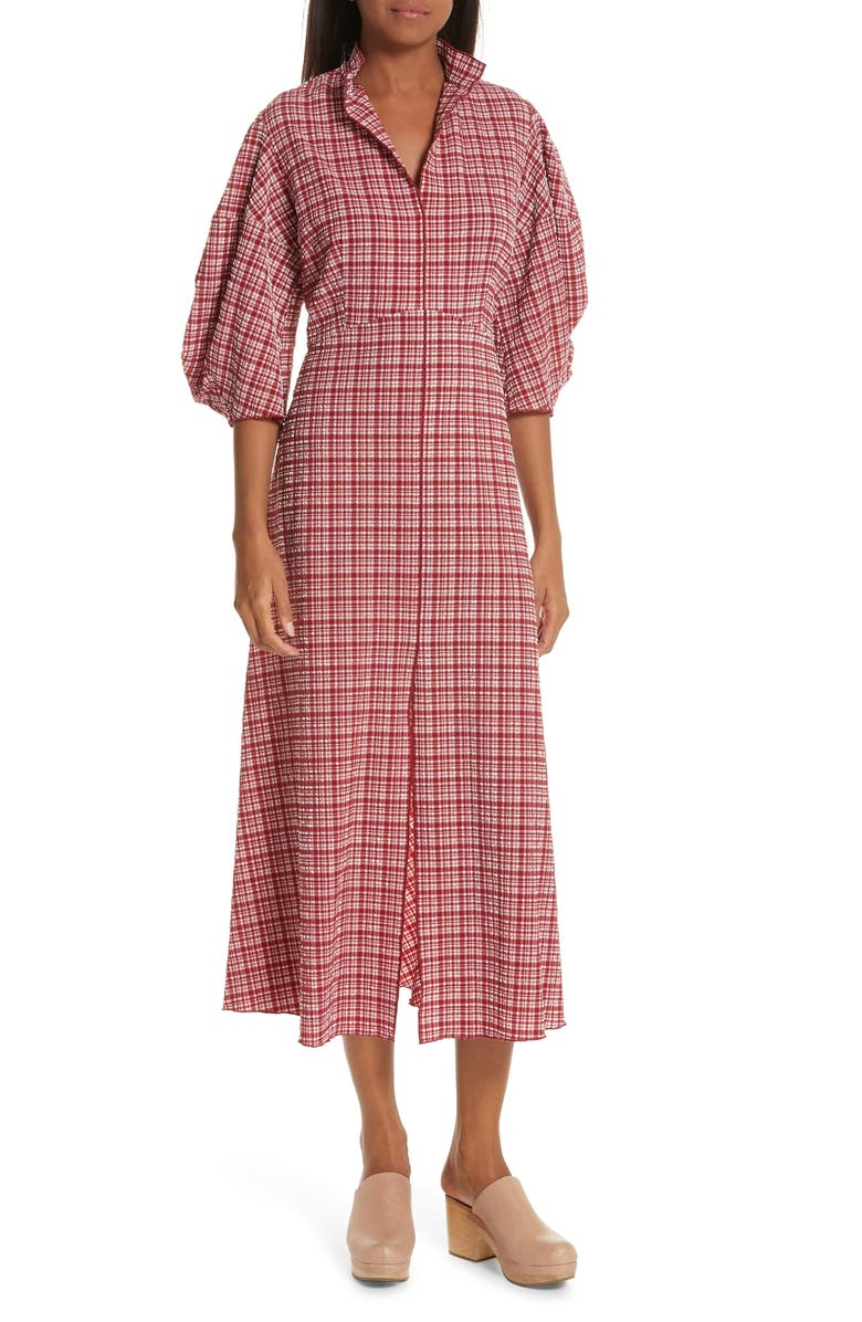 RACHEL COMEY Amplus Gingham Seersucker Dress, Main, color, 610