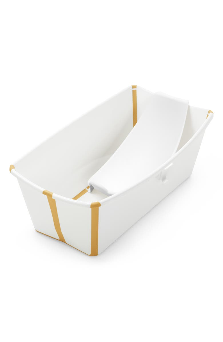 STOKKE Flexi Bath<sup>®</sup> Foldable Baby Bath Tub with Temperature Plug & Infant Insert, Main, color, WHITE YELLOW