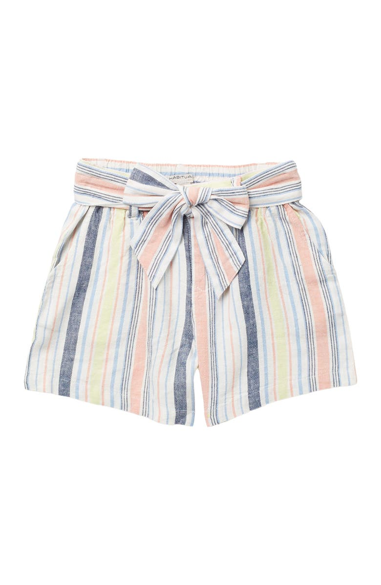 HABITUAL GIRL Ellie Front Bow Striped Shorts, Main, color, STRIPE