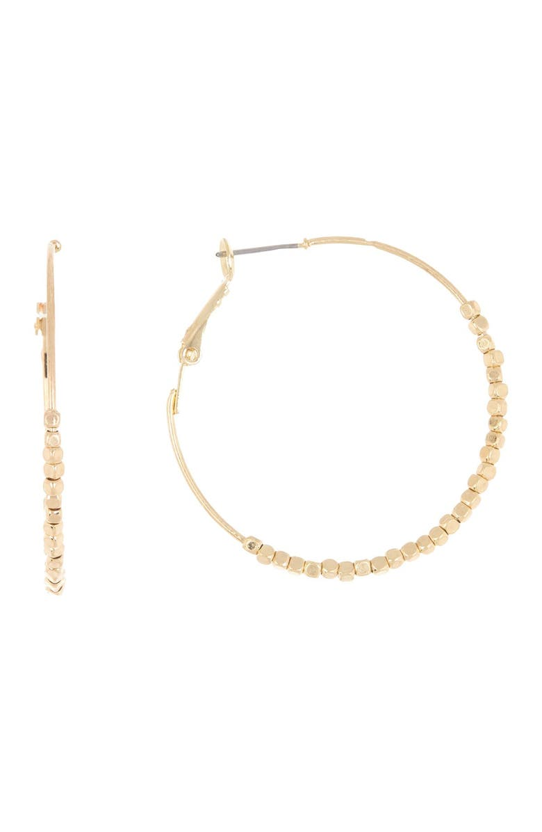 MELROSE AND MARKET Beaded 39mm Hoop Earrings, Main, color, GOLD