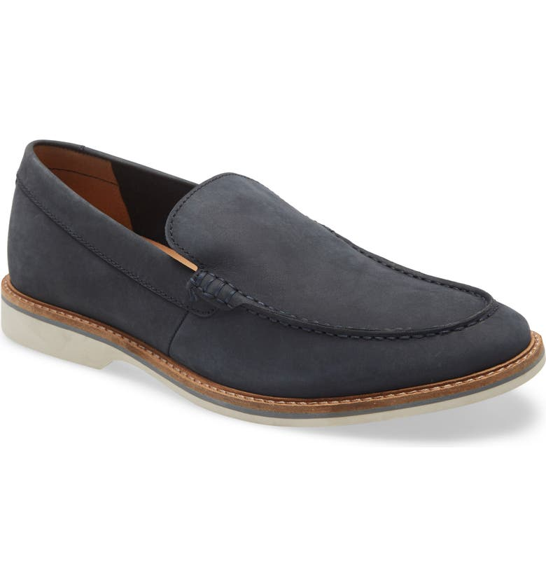 CLARKS<SUP>®</SUP> Atticus Edge Venetian Loafer, Main, color, NAVY NUBUCK
