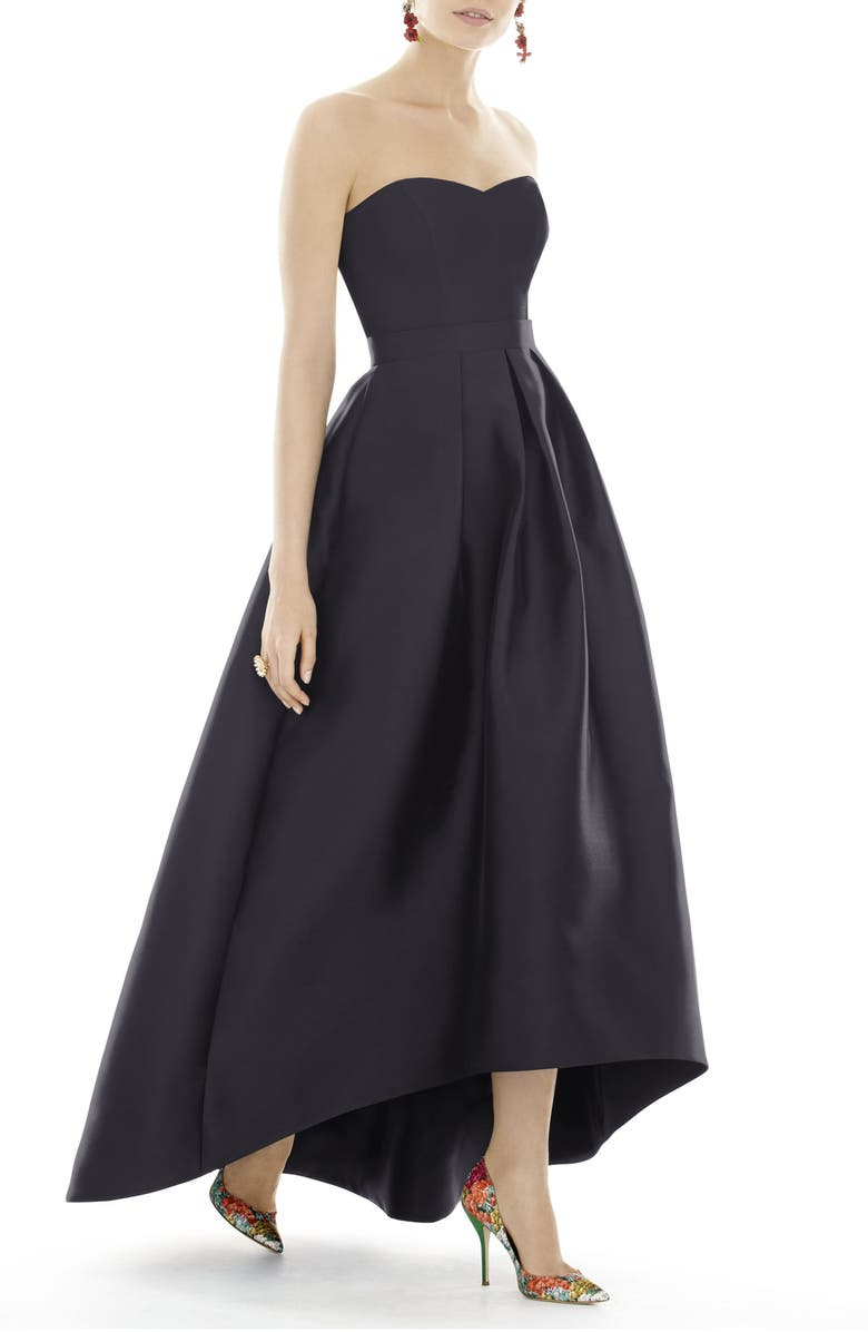 ALFRED SUNG Strapless High/Low Ballgown, Main, color, 007