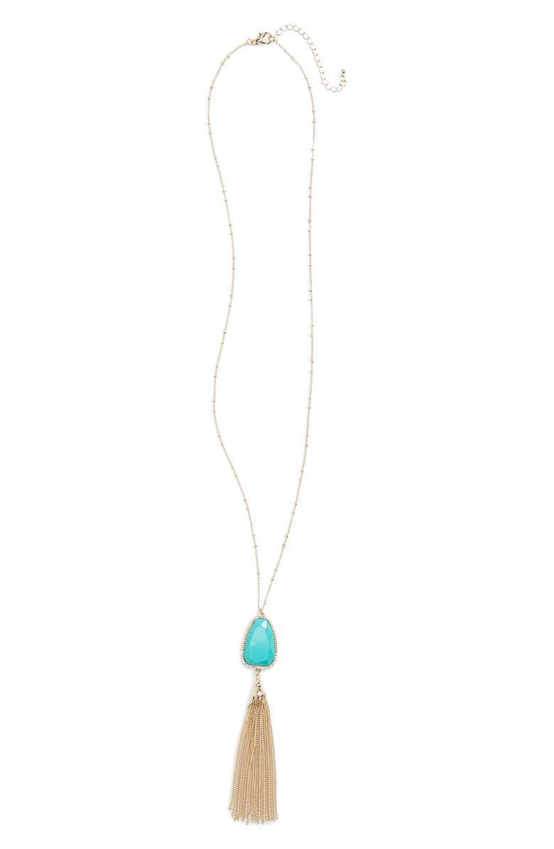 BP. Mother of Pearl Pendant Necklace, Main, color, TURQUOISE/ GOLD