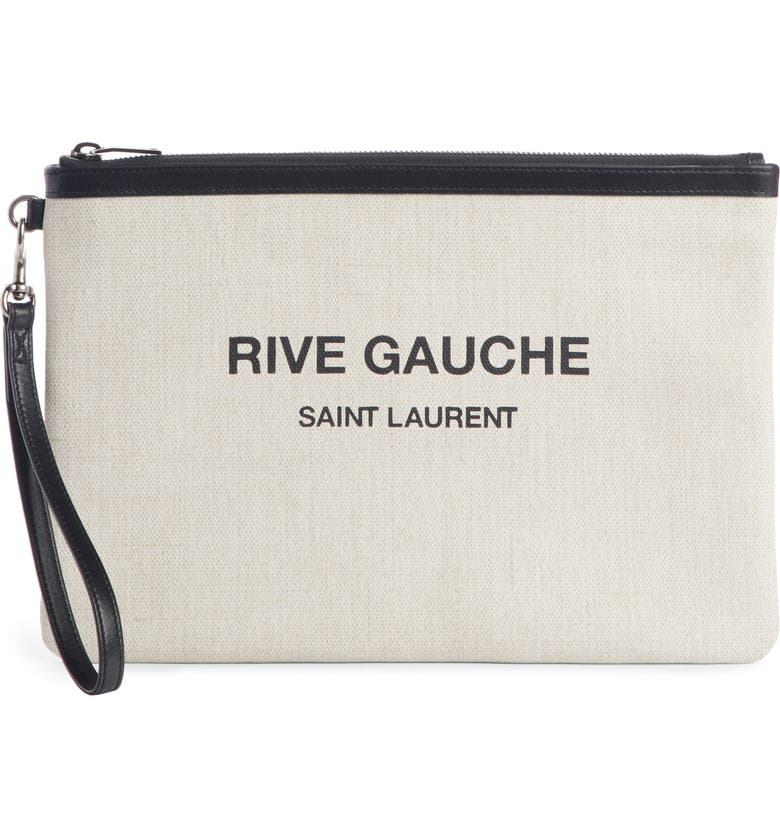 SAINT LAURENT Rive Gauche Canvas Pouch, Main, color, LINO BIANCO/ NERO