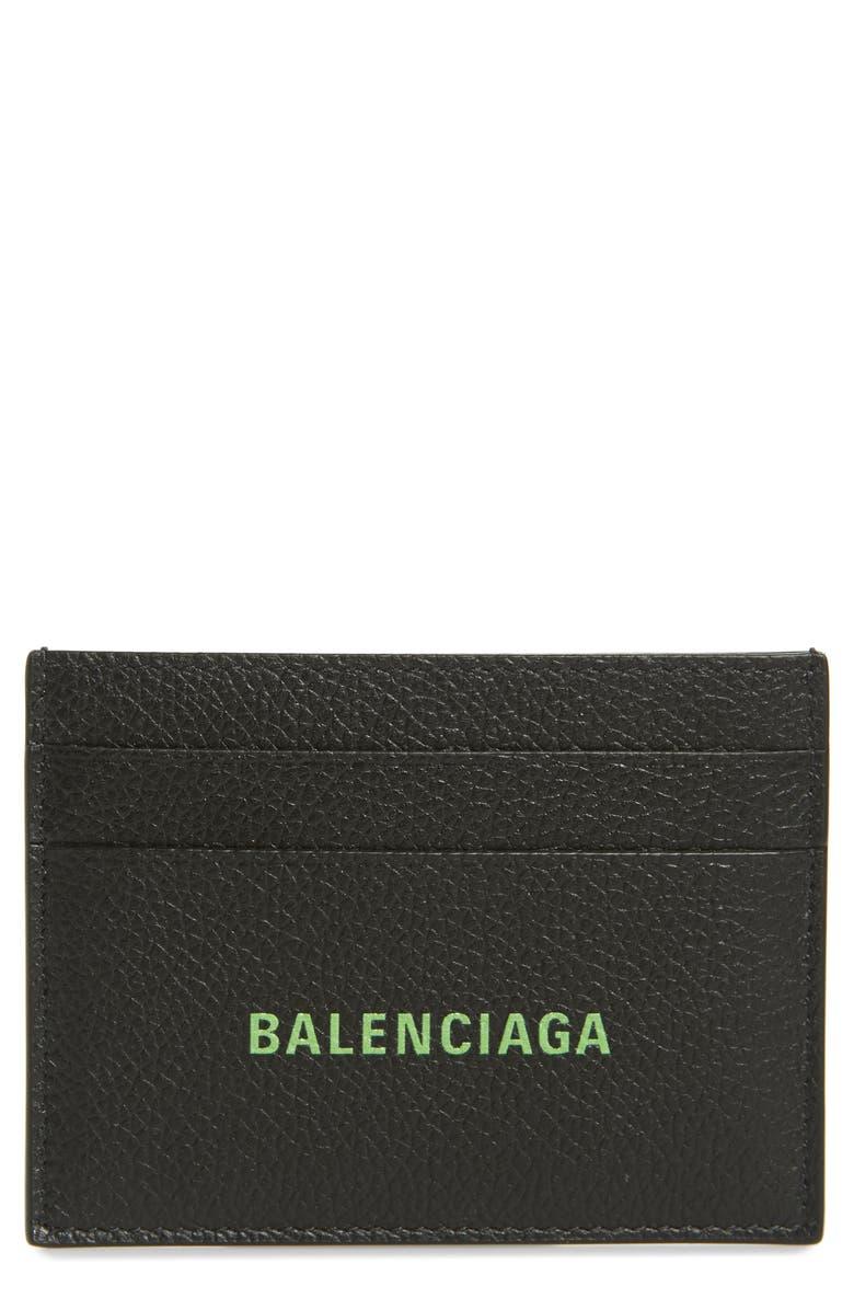BALENCIAGA Cash Logo Leather Card Case, Main, color, BLACK/ FLUO GREEN