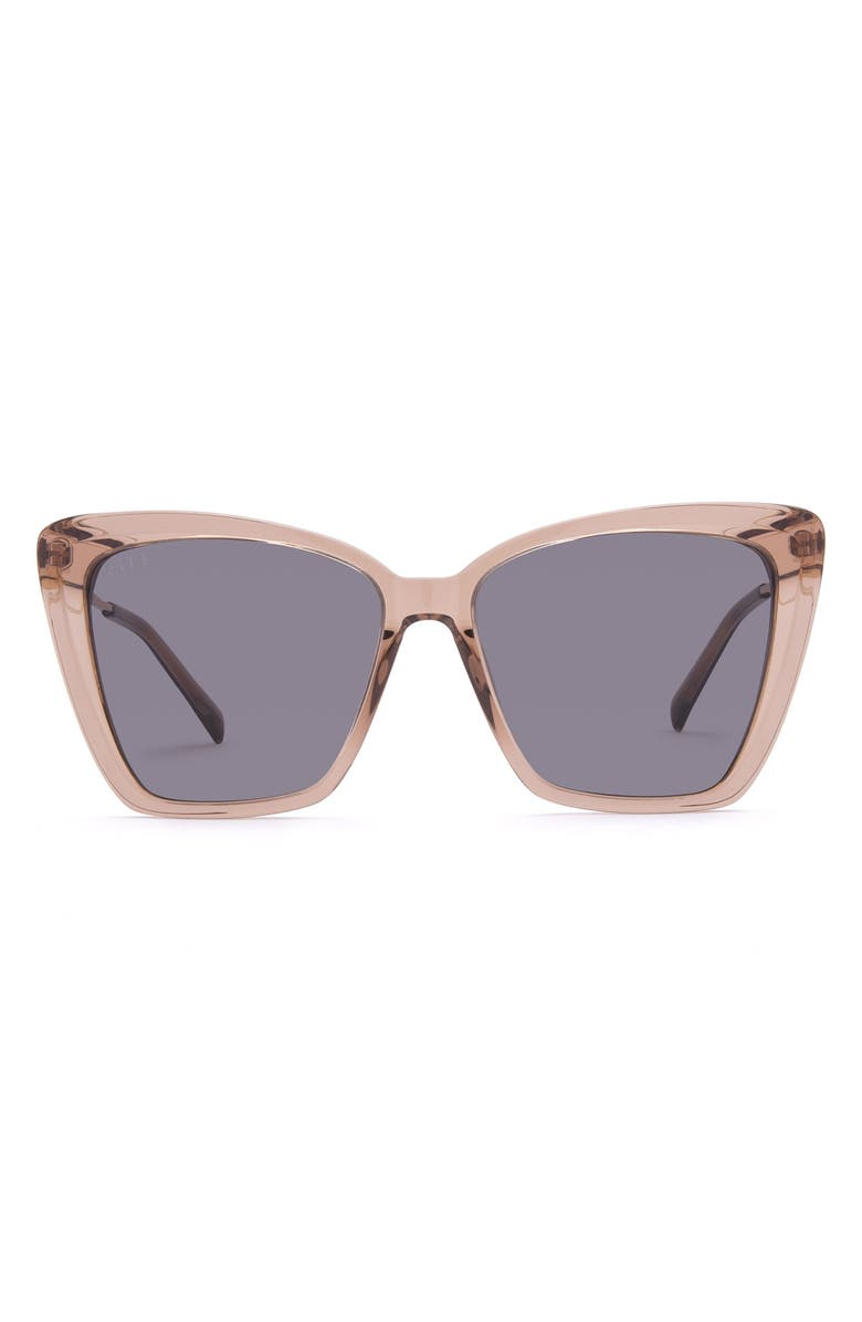 DIFF Becky II 55mm Cat Eye Sunglasses, Main, color, CAFE OLE/ GREY
