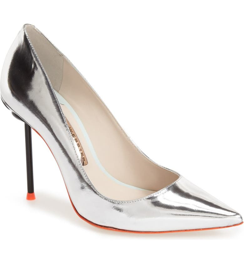 SOPHIA WEBSTER 'Coco Flamingo' Pointy Toe Pump, Main, color, SILVER LEATHER
