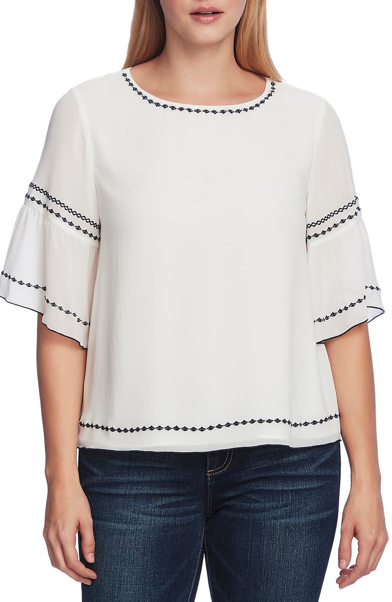 VINCE CAMUTO Embroidered Bell Sleeve Chiffon Blouse, Main, color, 144