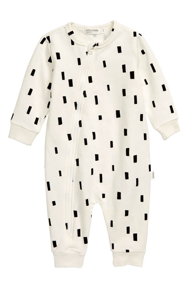 MILES baby Asymmetrical Zip Romper, Main, color, OFF WHITE