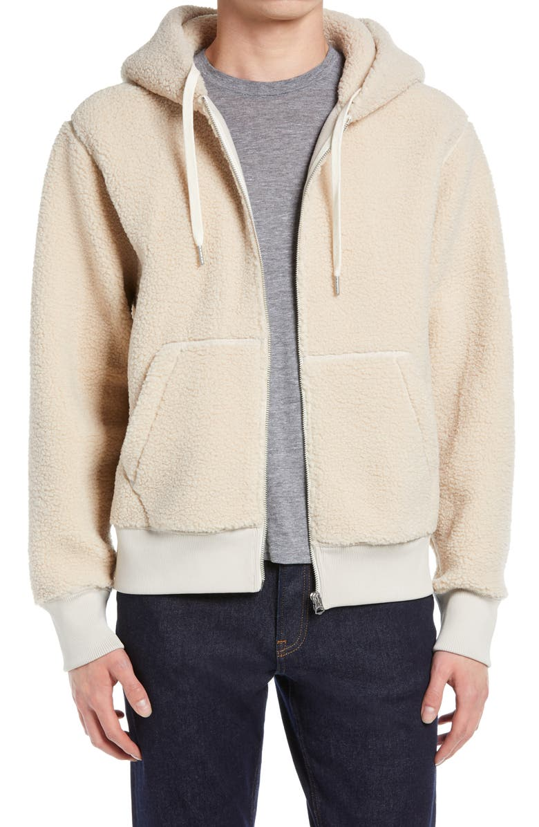 RAG & BONE Damon High Pile Fleece Hoodie, Main, color, IVORY