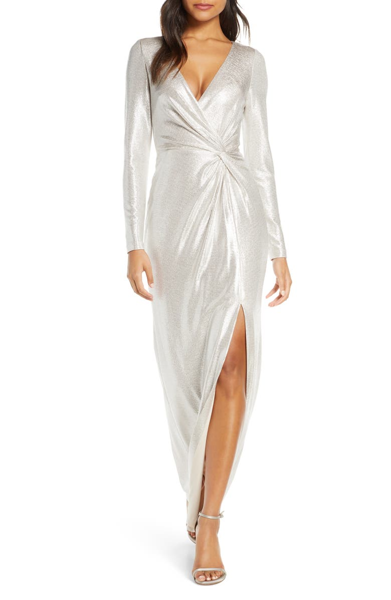 ELIZA J Twist Front Long Sleeve Metallic Gown, Main, color, 250