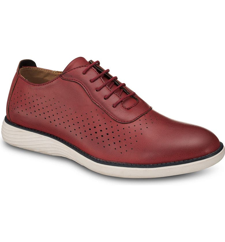 MEMBERS ONLY Perforated Oxford Shoe, Main, color, MAROON