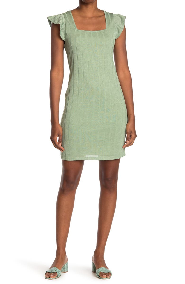 19 COOPER Printed Cap Sleeve Knit Dress, Main, color, OLIVE