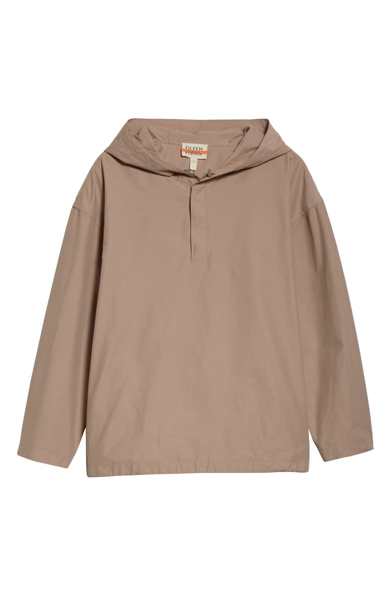 EILEEN FISHER Hooded Organic Cotton Blend Jacket, Main, color, TWINE