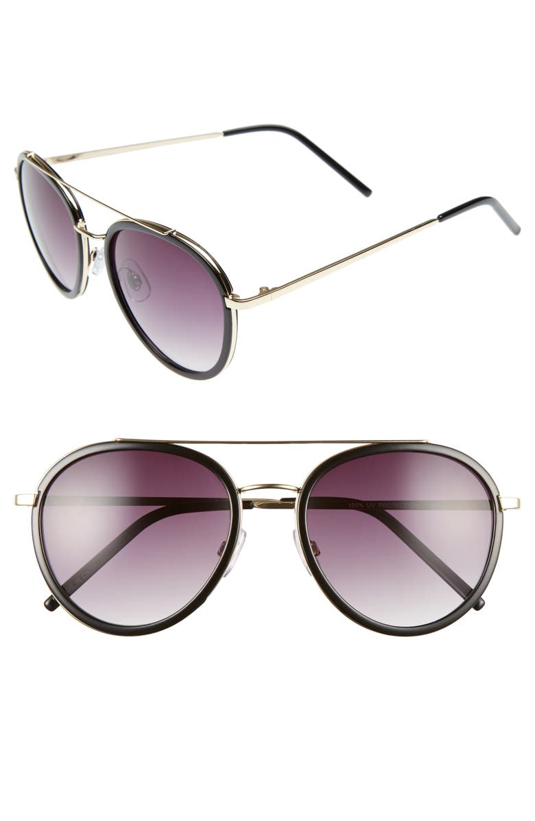 BP. Zanzibar 54mm Aviator Sunglasses, Main, color, 001