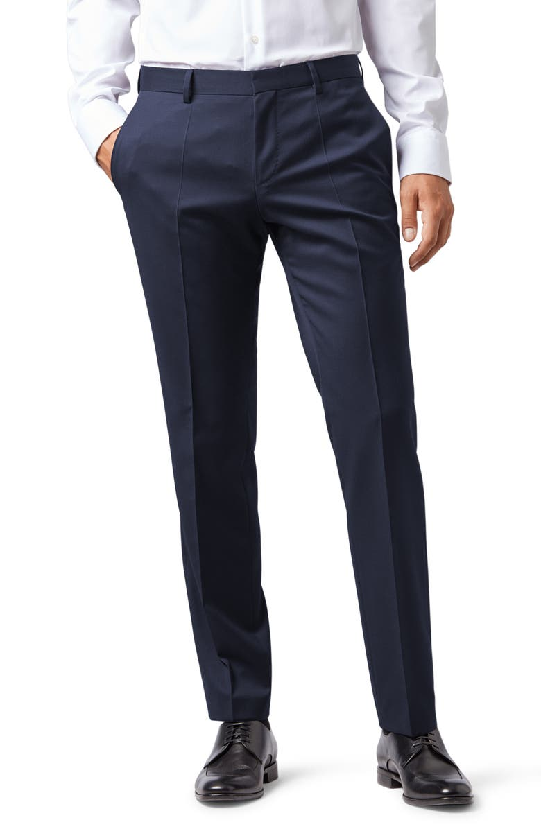 BOSS Gibson CYL Flat Front Solid Slim Fit Wool Dress Pants, Main, color, Dark Blue