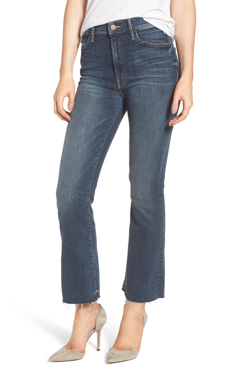 MOTHER The Hustler Fray Ankle Bootcut Jeans, Main, color, 404