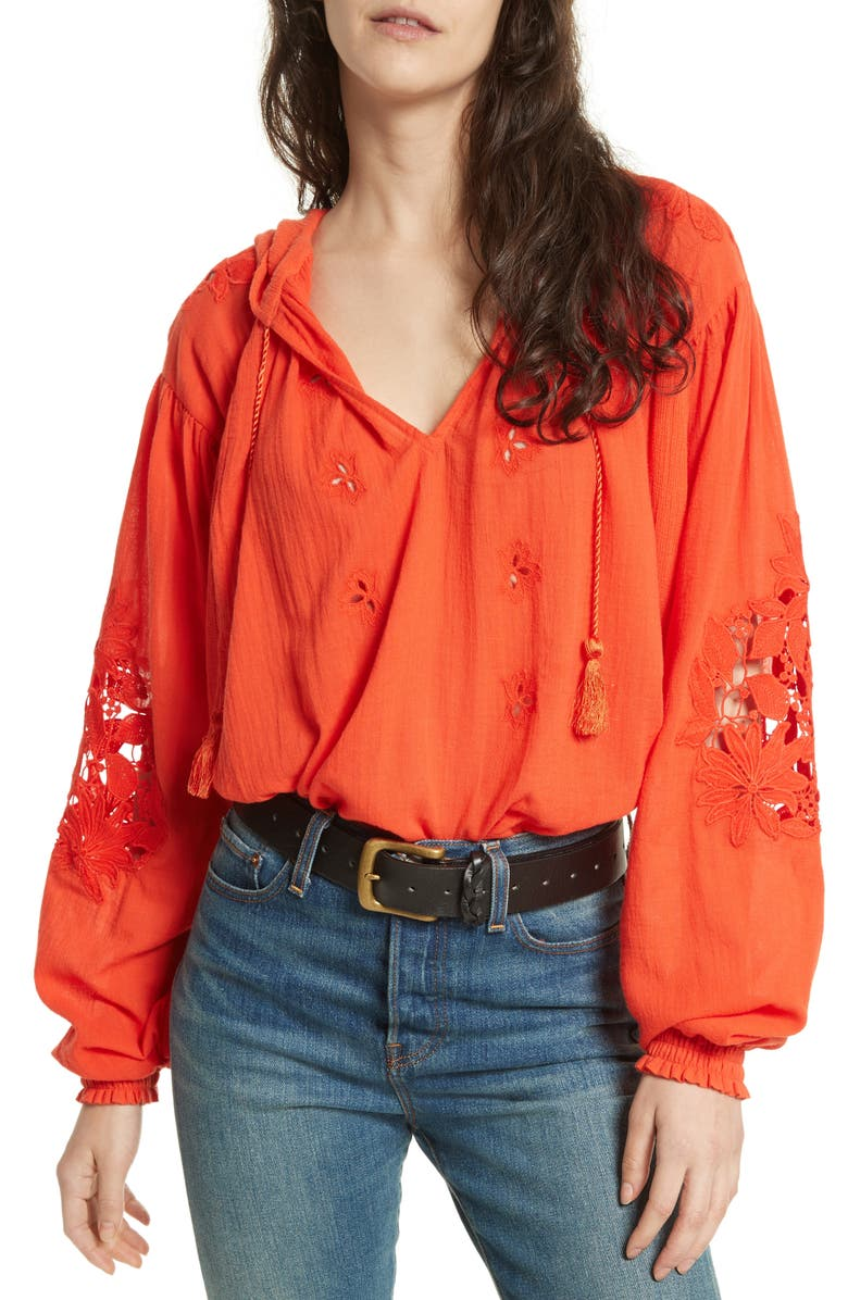 FREE PEOPLE Tropical Summer Hooded Top, Main, color, RED