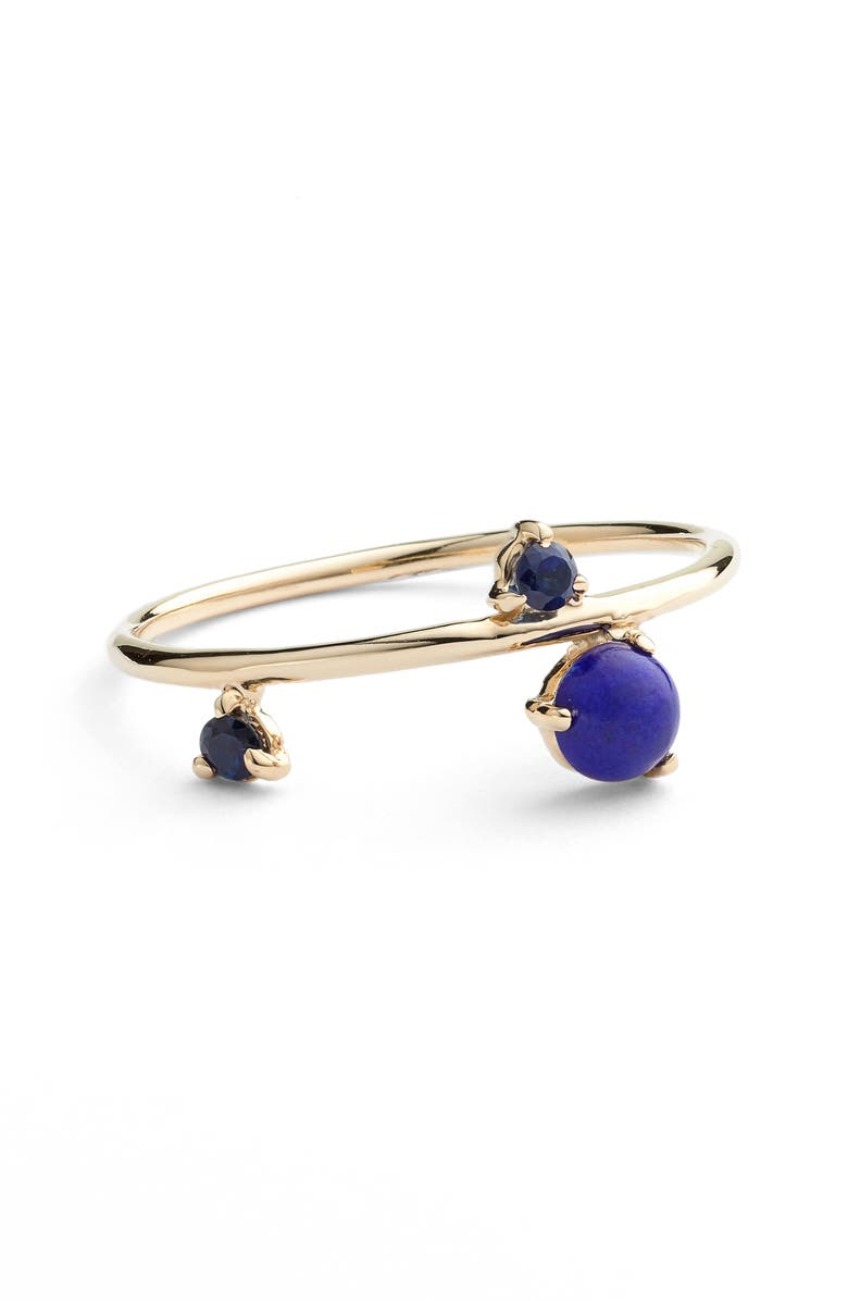 WWAKE Counting Collection Three-Step Balloon Lapis & Sapphire Ring, Main, color, YELLOW GOLD