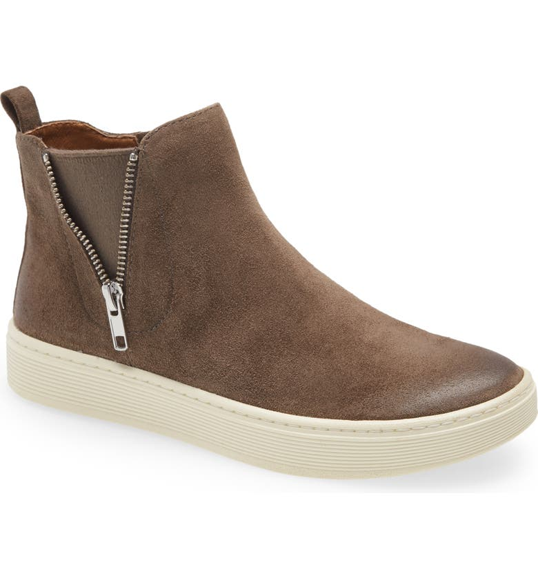 SÖFFT Britton Zip Water Resistant High Top Sneaker, Main, color, TAUPE SUEDE