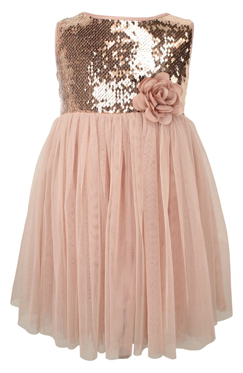 POPATU Sequin Sleeveless Tulle Dress, Main, color, DUSTY PINK