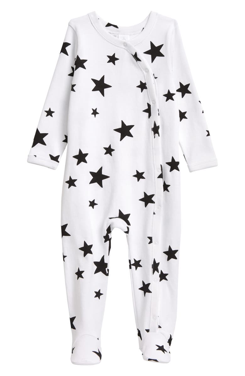 NORDSTROM Baby Print Footie, Main, color, WHITE SCATTERED STARS