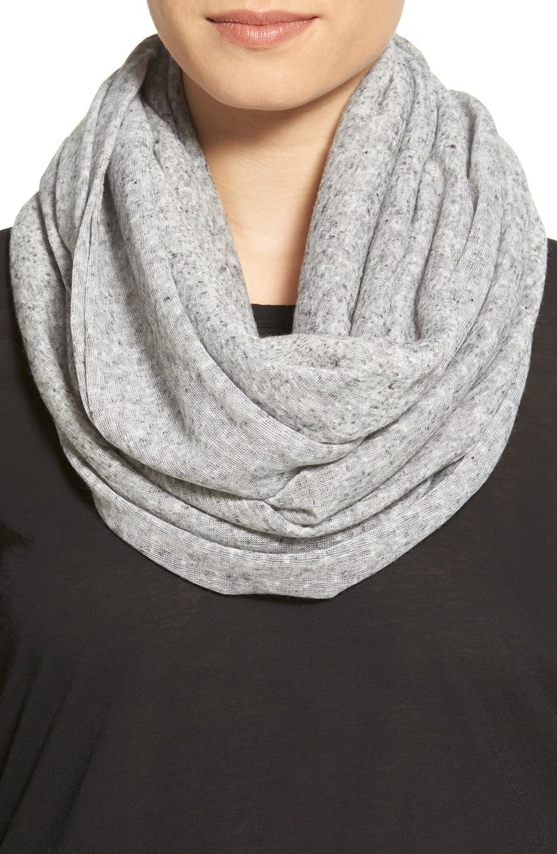 BCBGENERATION Speckled Knit Infinity Scarf, Main, color, BLACK