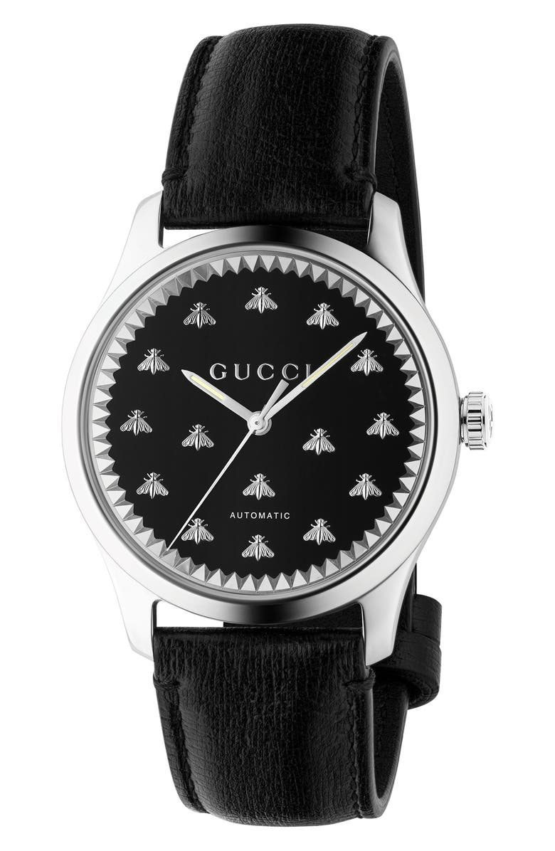 GUCCI Bee Automatic Leather Strap Watch, 42mm, Main, color, BLACK/ SILVER