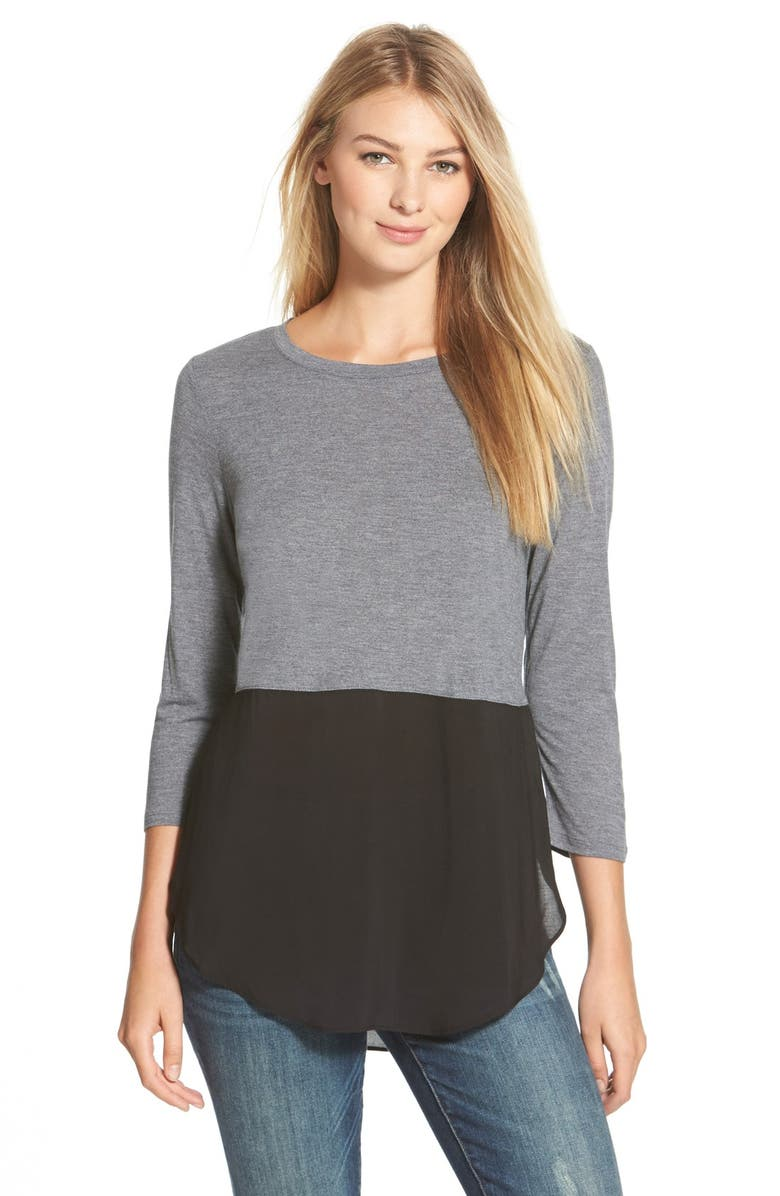 VINCE CAMUTO Two by Vince Camuto Mixed Media Jewel Neck Tunic, Main, color, DARK DOVE HEATHER