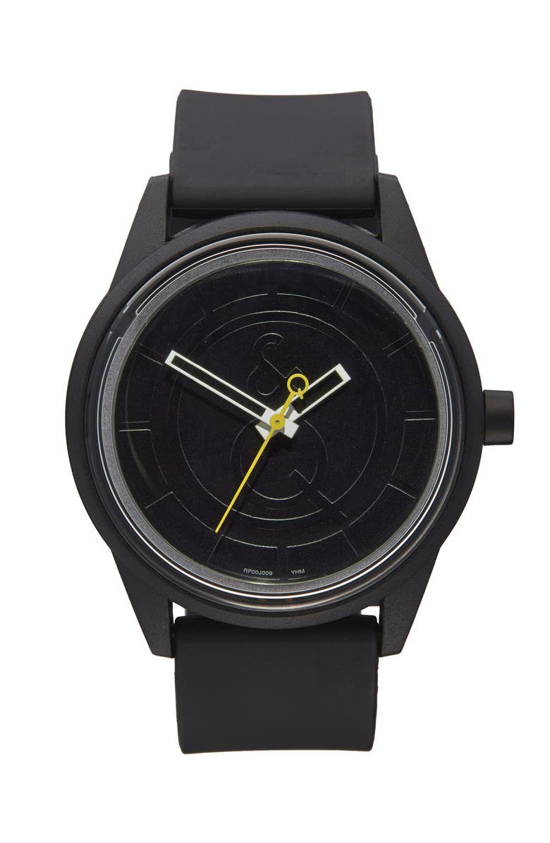 QUEST & QUALITY 'SmileSolar' Solar Powered Strap Watch, 40mm, Main, color, 001