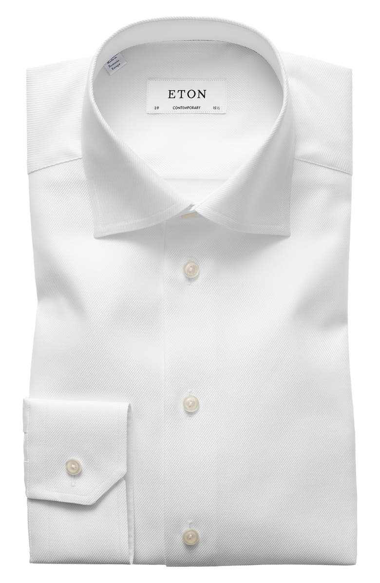 ETON Contemporary Fit Cavalry Twill Dress Shirt, Main, color, WHITE