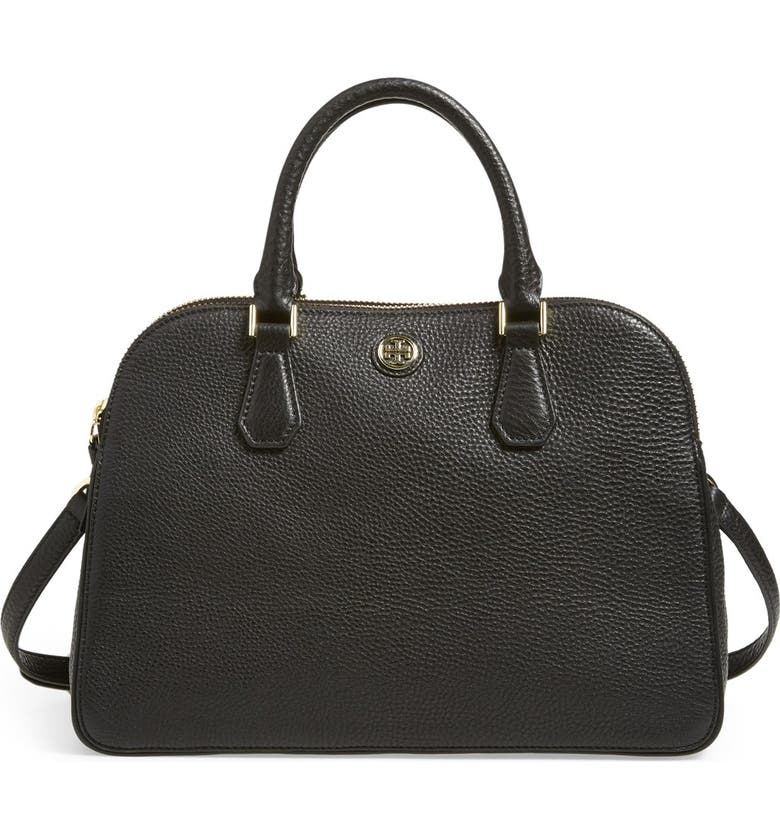 TORY BURCH 'Robinson' Pebbled Leather Satchel, Main, color, 001