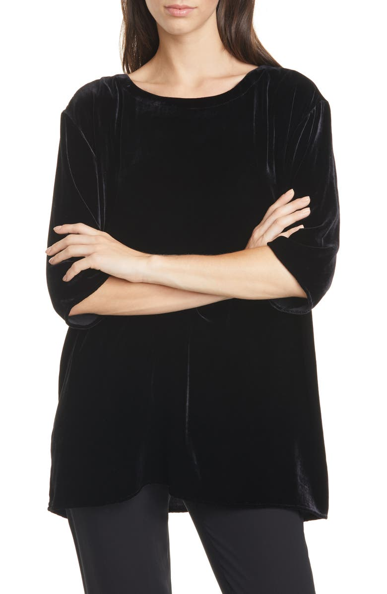 EILEEN FISHER Ballet Neck Boxy Top, Main, color, 001