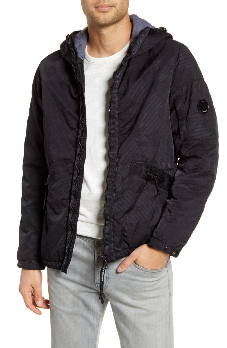 C.P. COMPANY Embossed Water Resistant Hooded Nylon Jacket, Main, color, 002