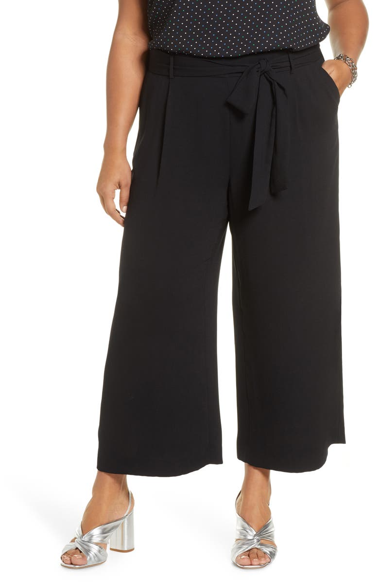 HALOGEN<SUP>®</SUP> Belted Crop Wide Leg Pants, Main, color, BLACK