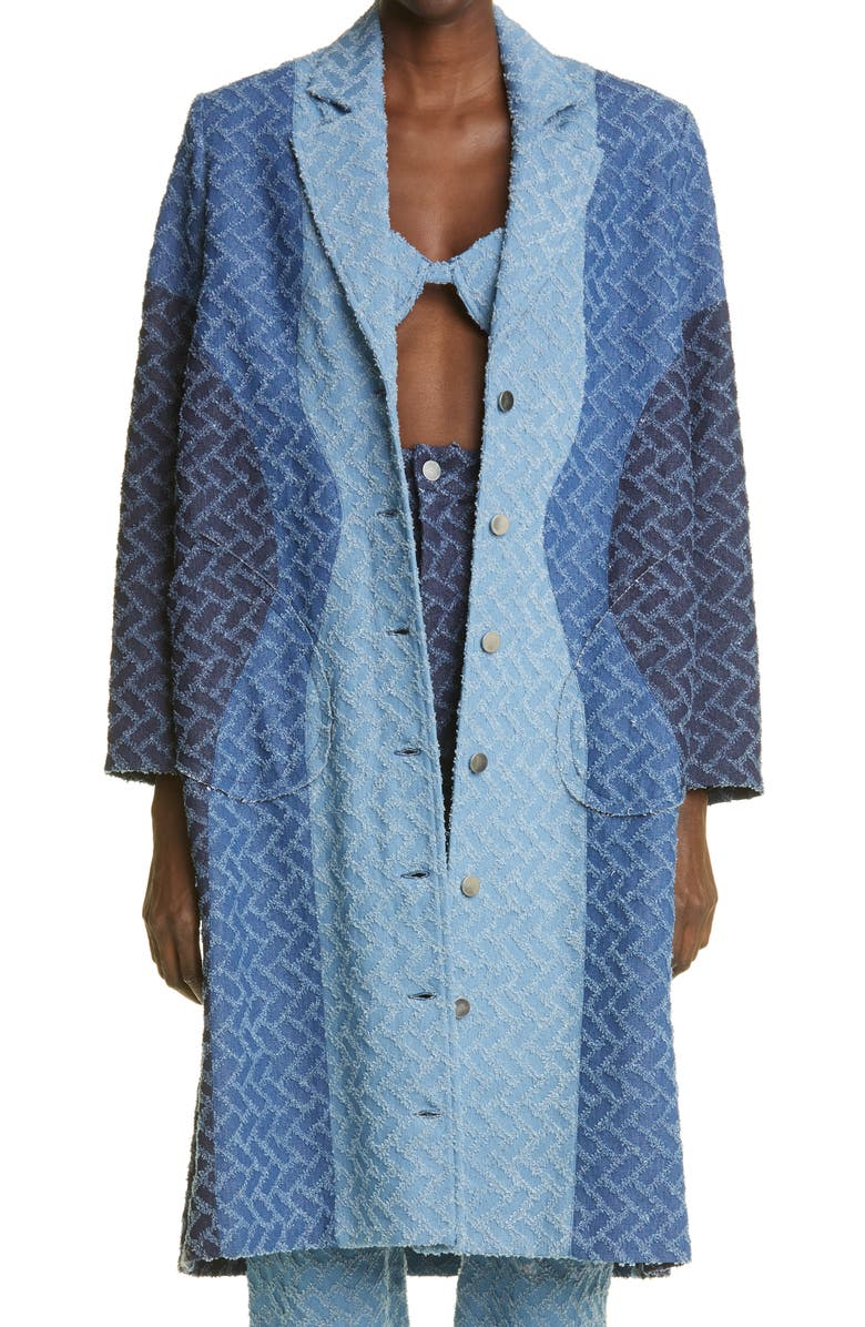 WEINSANTO Geo Pattern Denim Coat, Main, color, Blue