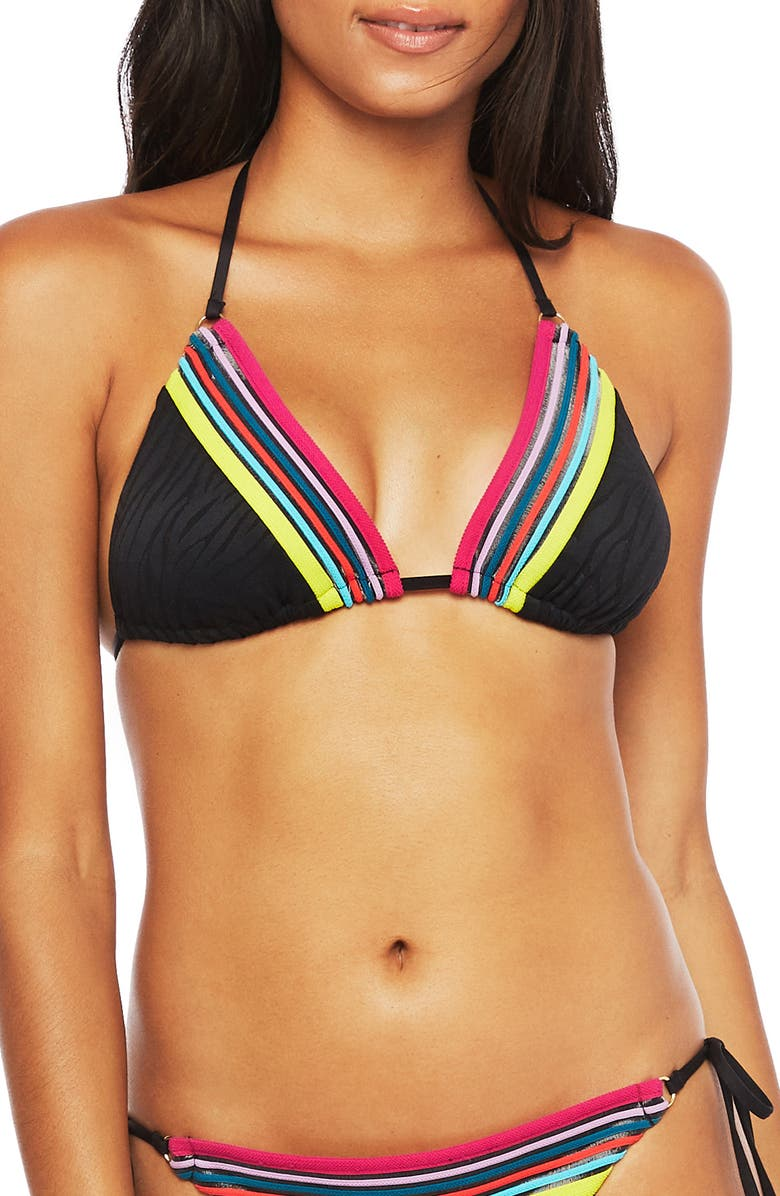 TRINA TURK Stripe Trim Zebra Triangle Bikini Top, Main, color, 001