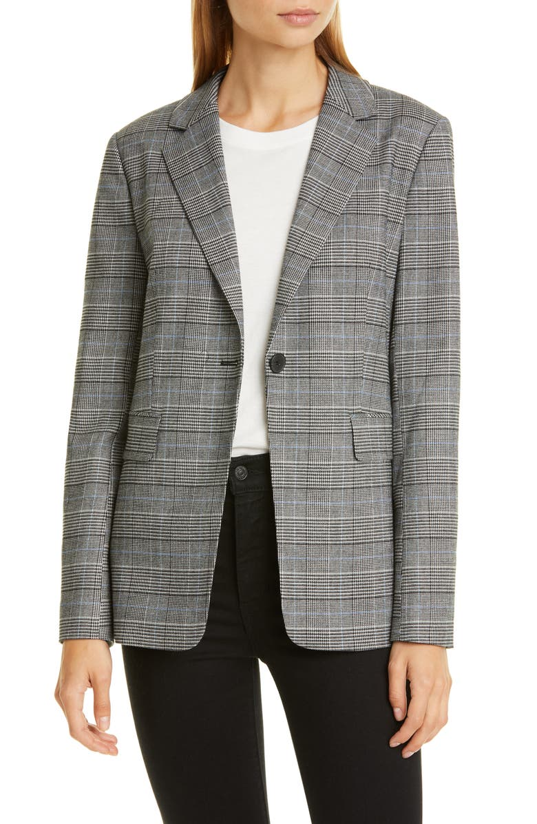 NORDSTROM SIGNATURE Windowpane Check Single Button Blazer, Main, color, 001