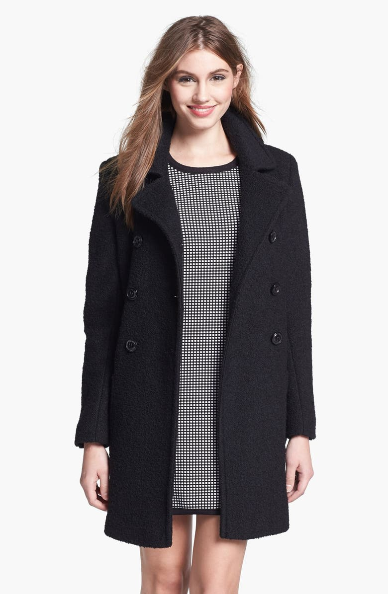 DKNY Double Breasted Bouclé Coat, Main, color, 001
