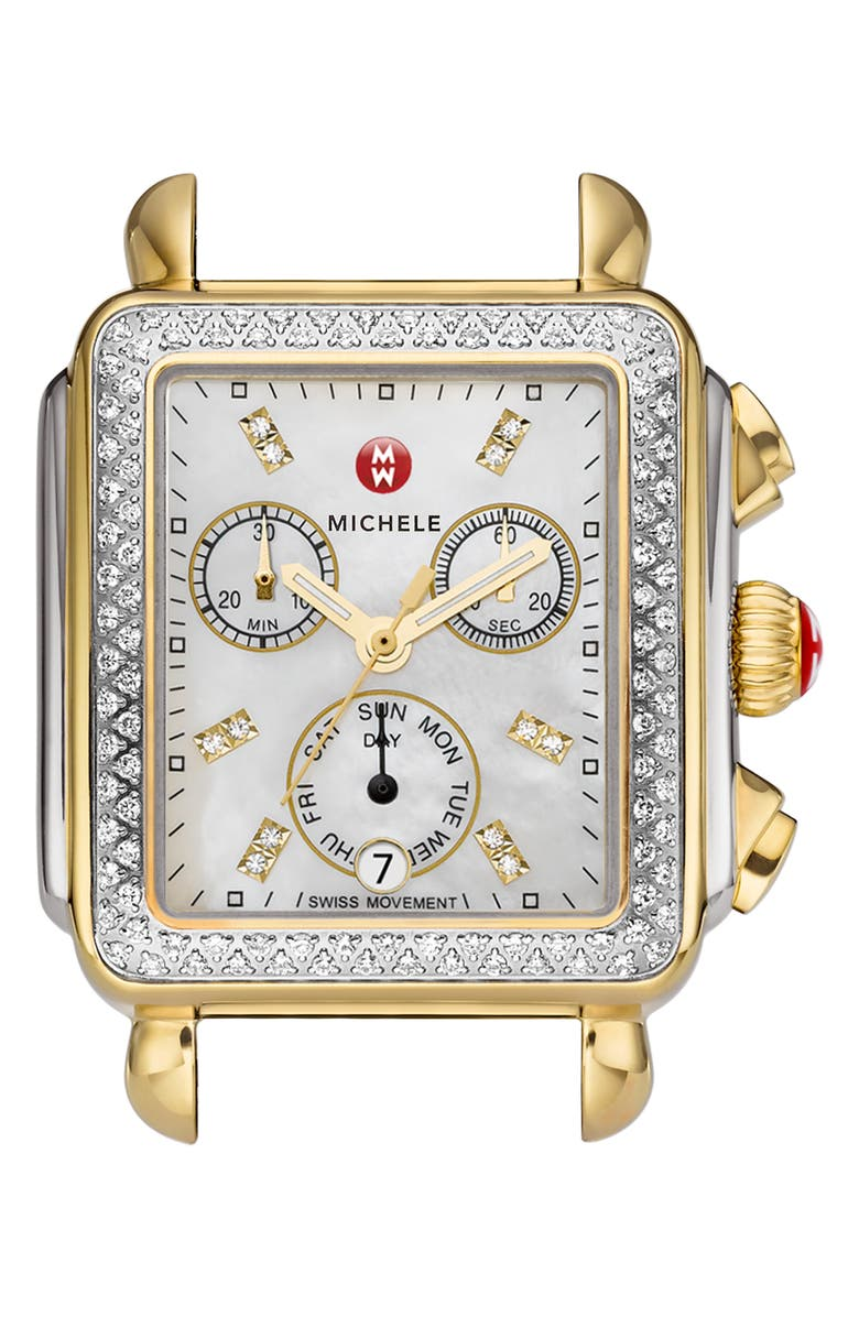 MICHELE Deco Diamond Diamond Dial Two-Tone Watch Case, 33mm x 35mm, Main, color, 040