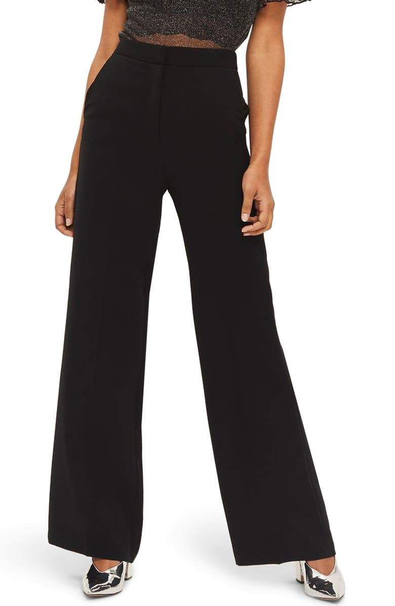 TOPSHOP High Waist Wide Leg Trousers, Main, color, 001