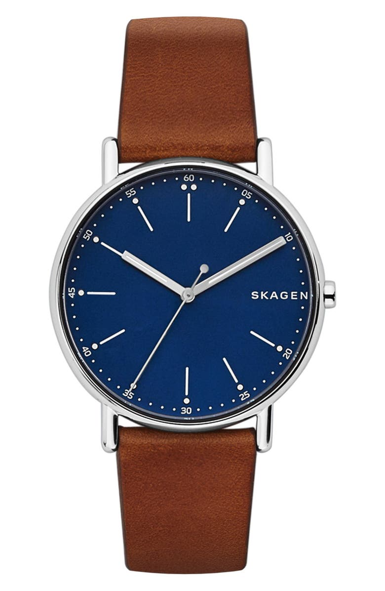 SKAGEN Round Leather Strap Watch, 40mm, Main, color, BROWN/ BLUE/ SILVER
