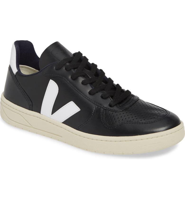 VEJA V-10 Sneaker, Main, color, BLACK/ WHITE LEATHER