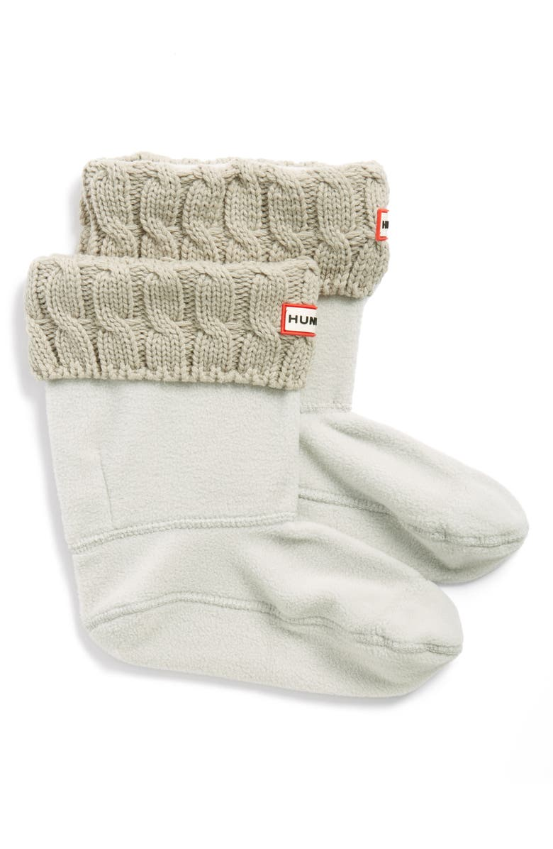 HUNTER Original Short Cable Knit Cuff Welly Boot Socks, Main, color, GREIGE