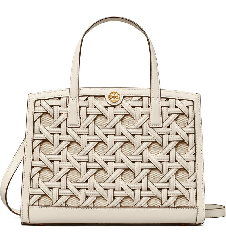 TORY BURCH Walker Small Basket Weave Leather Satchel, Main, color, NEW IVORY