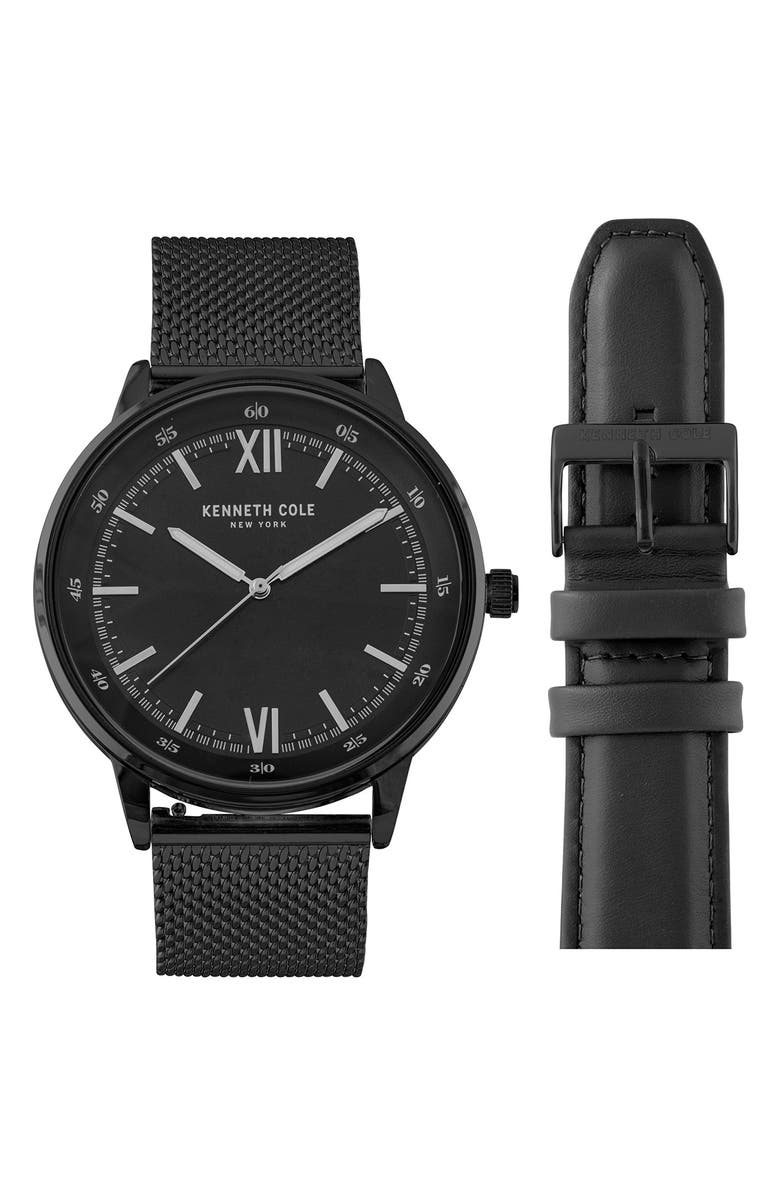 KENNETH COLE NEW YORK Men's Watch Gift Set, 45mm, Main, color, BLACK