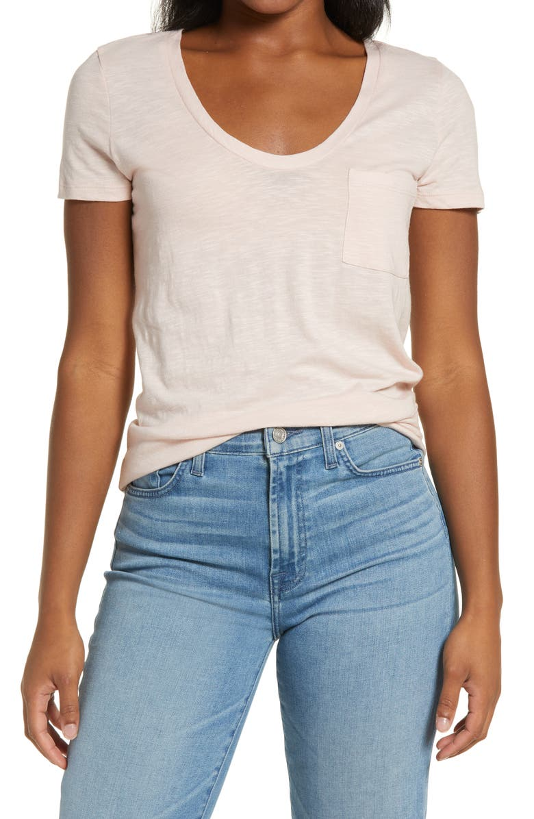 CASLON<SUP>®</SUP> Rounded V-Neck T-Shirt, Main, color, PINK SMOKE