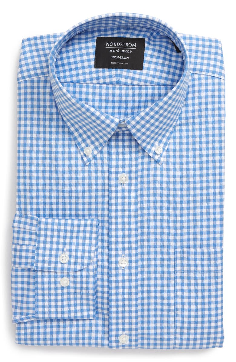 NORDSTROM Traditional Fit Non-Iron Gingham Dress Shirt, Main, color, BLUE