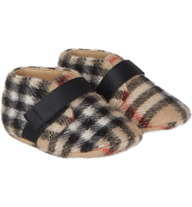 BURBERRY Charlton Vintage Check Wool Crib Shoe, Main, color, 250